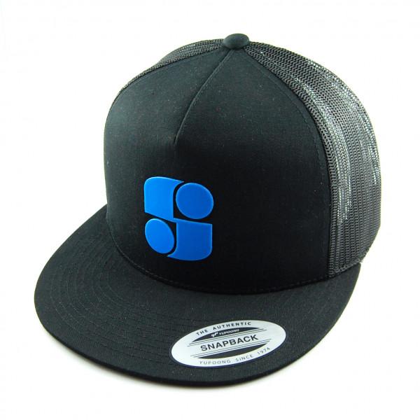 Schwarze Trucker Cap mit blauem Logo